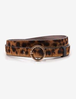 Tan Leopard Skinny Waist Belt