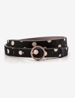 Black and White Spot Skinny Waist Belt