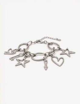 Antique Silver Metallic Charming Bracelet
