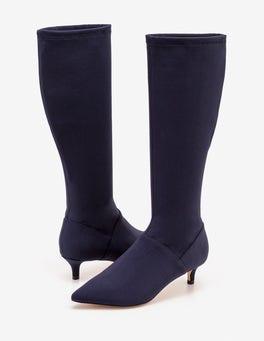 Navy Kitten Heel Stretch Boots