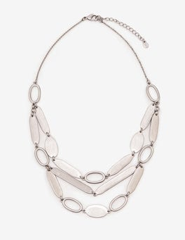 Antique Silver Metallic Shapely Necklace