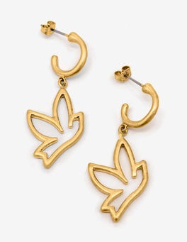Antique Gold Metallic Bird Charm Earrings