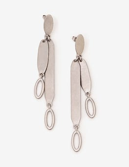 Antique Silver Metallic Shapely Earrings