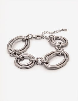 Antique Silver Metallic Geometric Bracelet