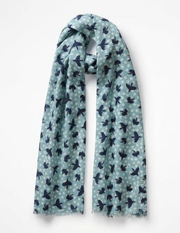 Heritage Blue Starry Bird Printed Merino Scarf
