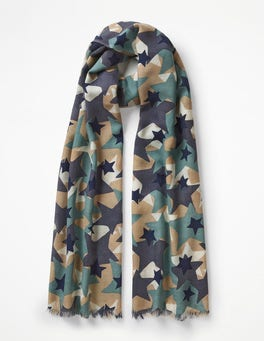 Camouflage Star Printed Merino Scarf