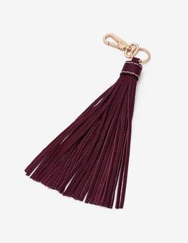 Mulled Wine Leather Tassel Keyring
