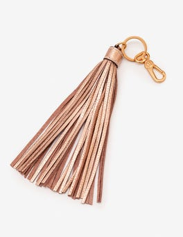Rose Gold Metallic Leather Tassel Keyring