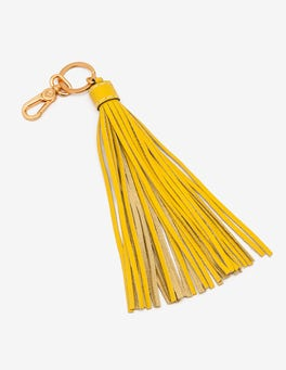 English Mustard Leather Tassel Keyring