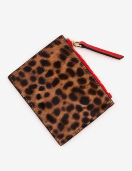 Tan Leopard Leather Coin Purse