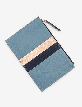 Heritage Blue Stripe Leather Keepsake Pouch