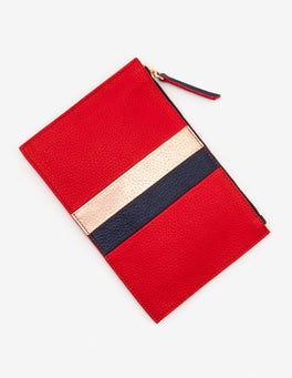 Post Box Red Stripe Leather Keepsake Pouch