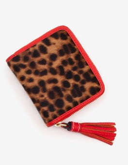 Tan Leopard Leather Square Tassel Purse
