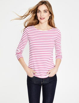 Ivory/Pop Pansy Long Sleeve Breton