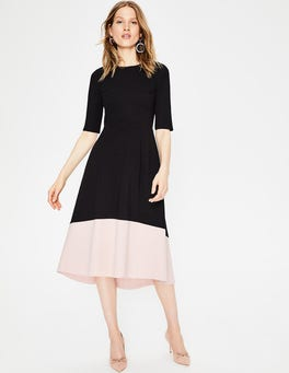 Black/Milkshake Wren Ponte Midi Dress