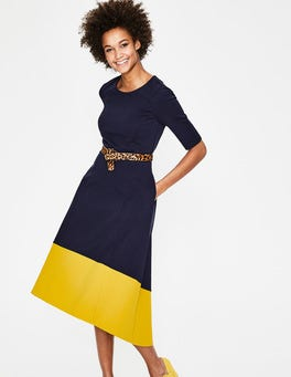 Navy/Hot Mustard Wren Ponte Midi Dress