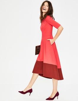 Pop Peony/Conker Wren Ponte Midi Dress