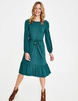 Grün/Navy, Verstreute Tupfen Holly Jersey-Kleid
