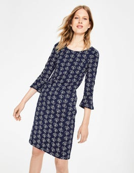 Navy Climbing Vine Newlyn Jersey Jacquard Dress