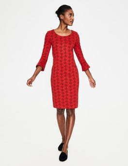 Post Box Red Climbing Vine Newlyn Jersey Jacquard Dress