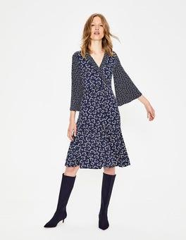 Navy, Geblümt/Wolke Hettie Jersey-Kleid