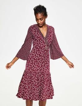 Glühweinrot, Geblümt/Wolke Hettie Jersey-Kleid