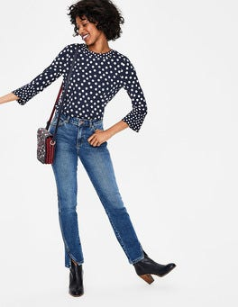 Navy Dotty Spot Althea Jersey Top
