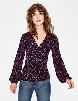 Navy Scattered Spot Elodie Wrap Top