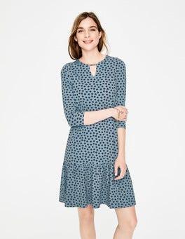Mittelblau, Zweifarbige GänseblümchenSelena Jerseykleid