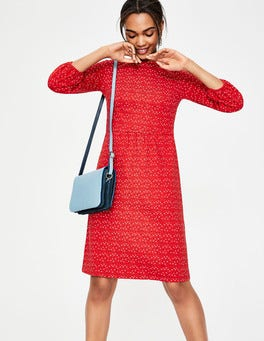 Post Box Red Scattered Stars Odelia Jersey Dress