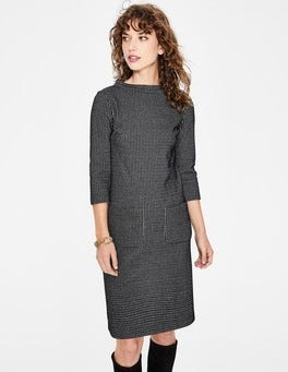 Black/Grey Marl Opal Jersey Jacquard Dress