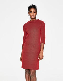 Post Box Red/Navy Opal Jersey Jacquard Dress