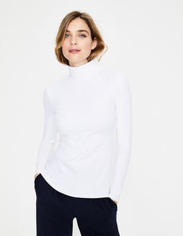 White Essential Roll Neck Tee