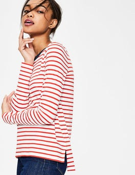 Ivory/Post Box Red Crew Neck Breton