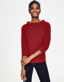 Post Box Red/Navy Opal Jersey Jacquard Top
