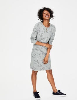 Grey Marl Flying Birds Sweatshirt Dress