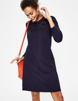 Navy Embroidery Sweatshirt Dress