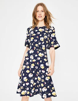 Navy Painted Peony Alexis Jersey Dress