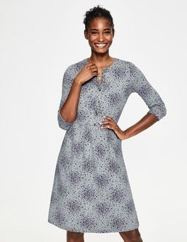 Grey Marl Flower Burst Briar Jersey Dress