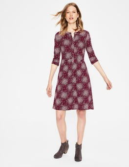 Mulled Wine Flower Burst Briar Jersey Dress