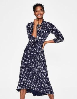 Navy/Milkshake Scattered Spot Rosa Jersey Midi Dress