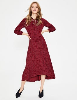 Wine/Navy Scattered Spot Rosa Jersey Midi Dress