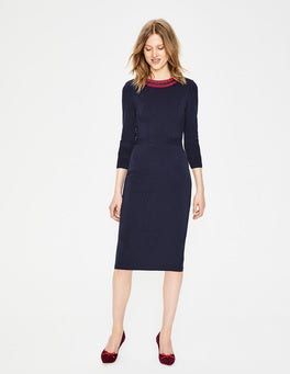 Navy Polperro Ottoman Dress