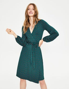 Drake Clover Geo Elodie Jersey Wrap Dress