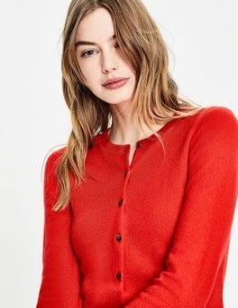 Red Pop Cashmere Crew Cardigan
