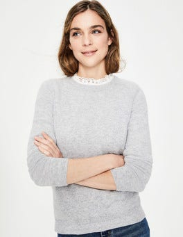 Grey Melange Cashmere Crew Neck Jumper