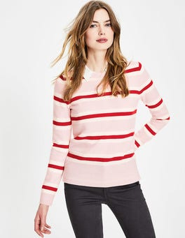 Pink Stripe Cashmere Crew Neck Sweater