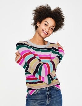 Multi Stripe Cashmere Crew Sweater