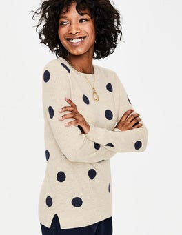 Navy/Oatmeal Spot Cashmere Crew Neck Sweater