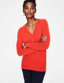 Red Pop Cashmere Relaxed VNeck Sweater